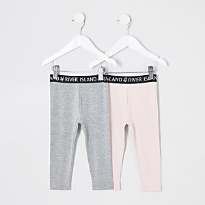 Pack de leggings gris et rose à bandes Rl mini fille