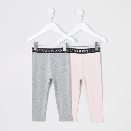 Mini girls pink grey RI leggings multipack
