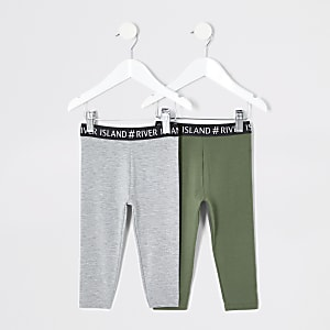 Mini - Kaki en grijze RI legging multipack voor meisjes