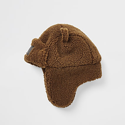 Mini boys brown teddy trapper hat