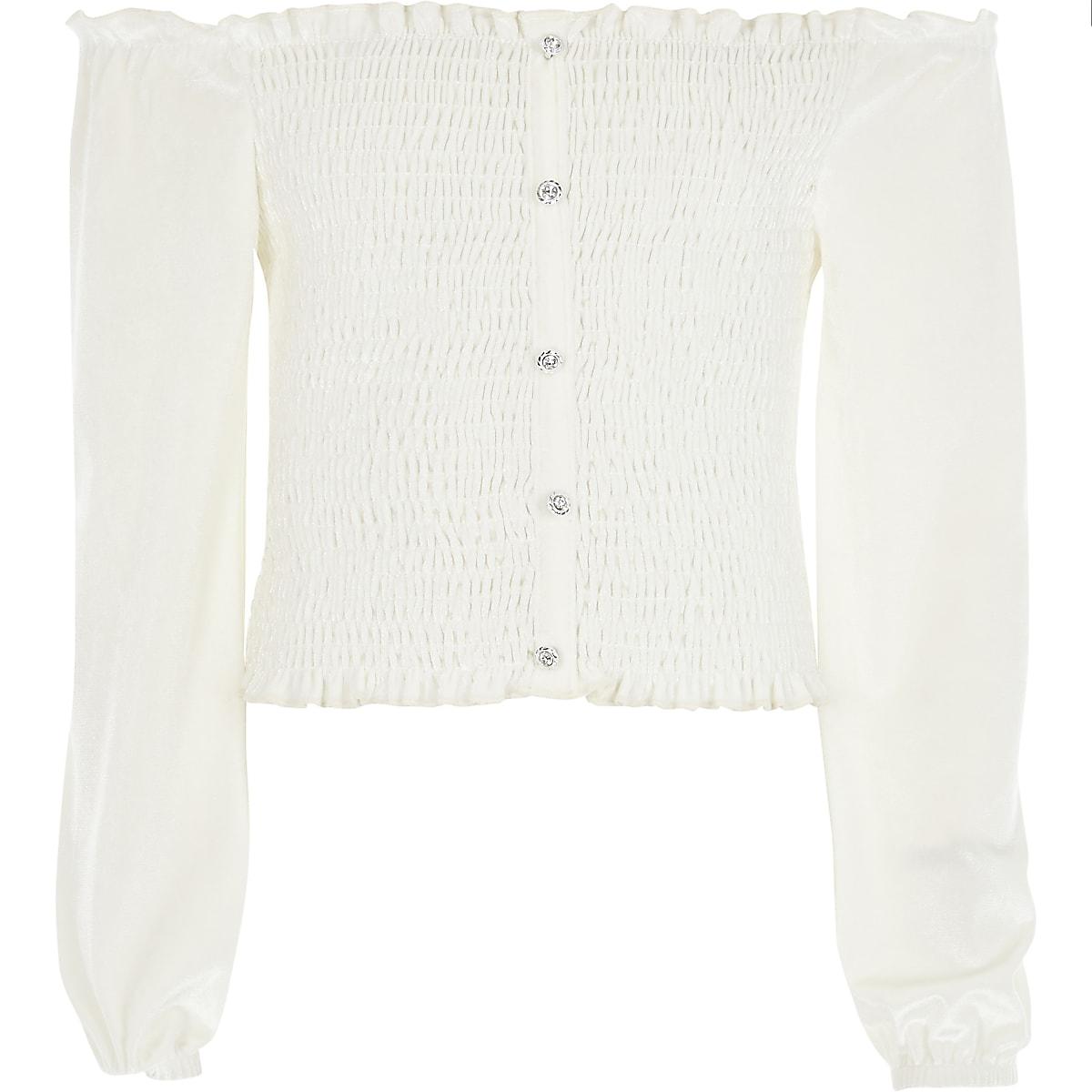 Girls cream velvet long sleeve bardot top