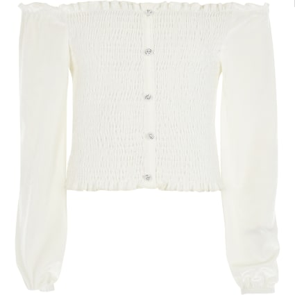 Girls cream velvet long sleeve bardot top