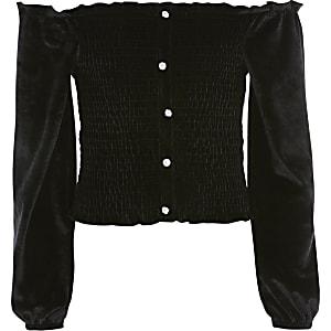 TopBardot en velours noir avec manches longues pour fille