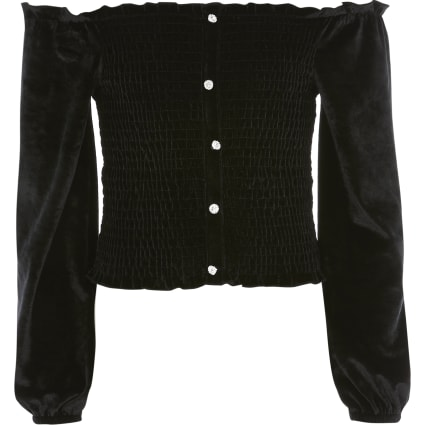 Girls black velvet long sleeve bardot top