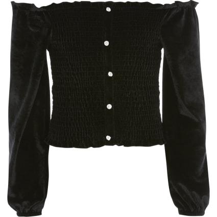 Girls black velvet long sleeve bardot top
