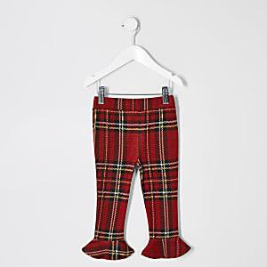 Mini - Rode geruite leggings met uitlopende zoom voor meisjes