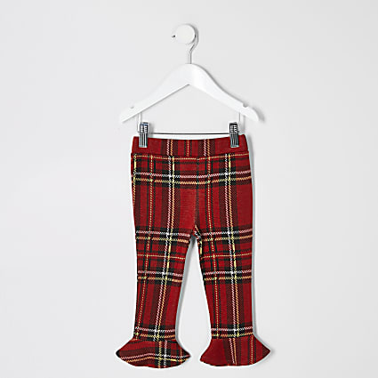 Mini girls red tartan flute hem leggings
