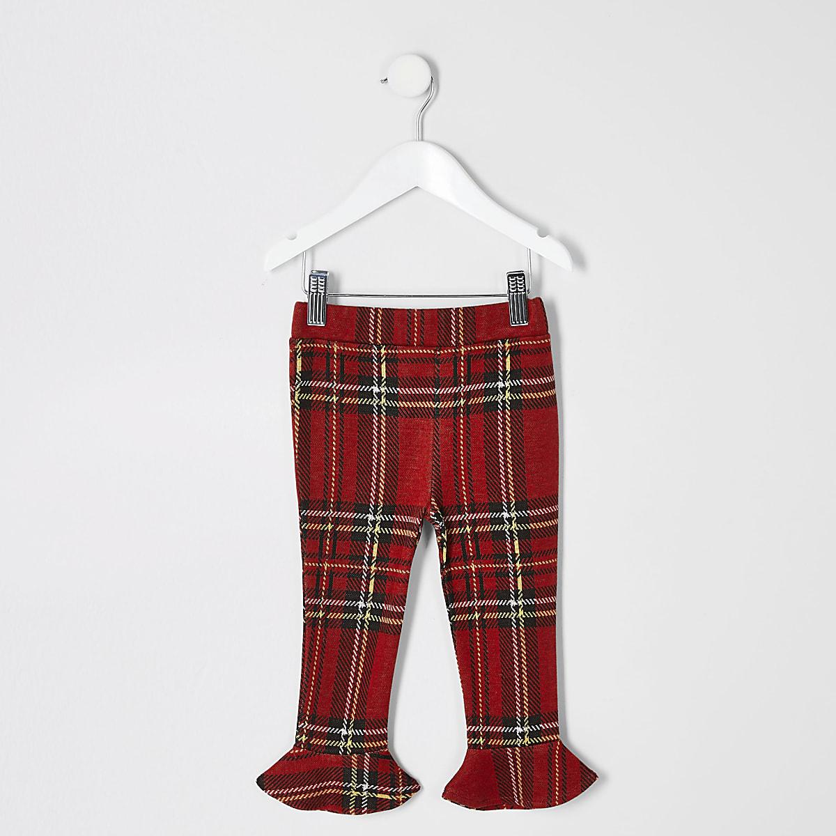 Mini girls red tartan flute hem leggings