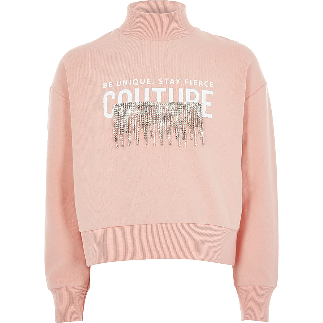 Girls coral print diamante tassel sweatshirt