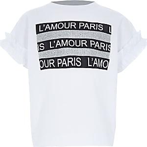 """Weißes, kurzes T-Shirt """"L'amour"""" mit Strass für Mädchen"""