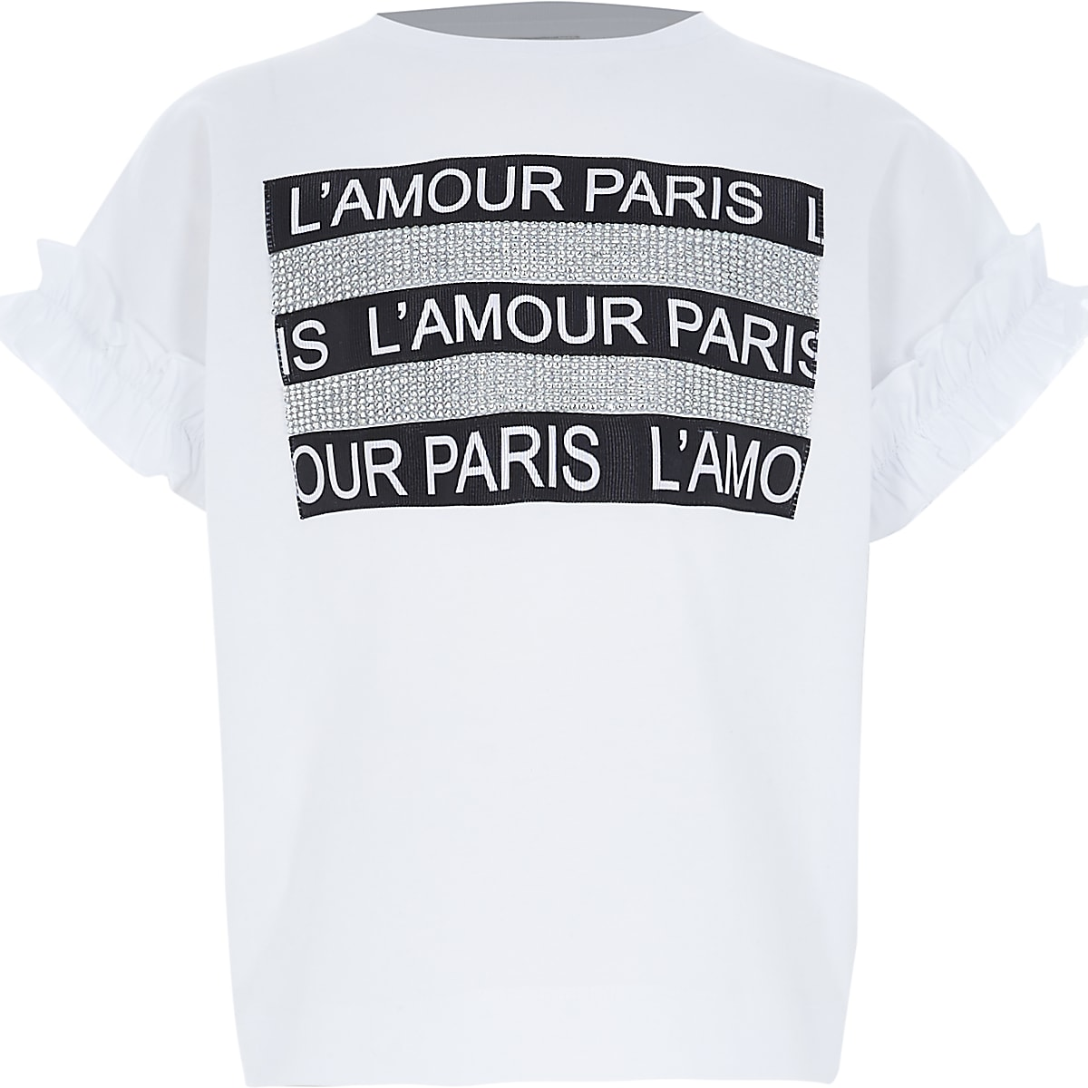 Girls white 'L'amour' diamante crop T-shirt