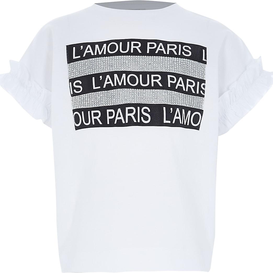 Wit crop T-shirt met 'L'amour'-tekst en siersteentjes voor meisjes