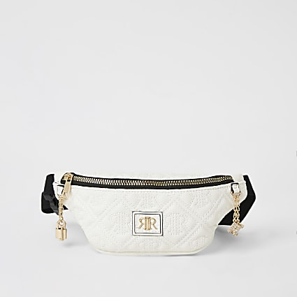 White RI embossed bumbag