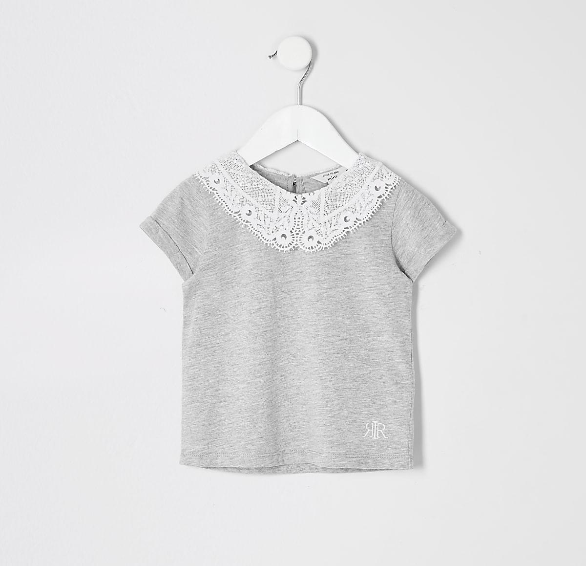 Mini - Grijs T-shirt met kanten rond kraag voor meisjes