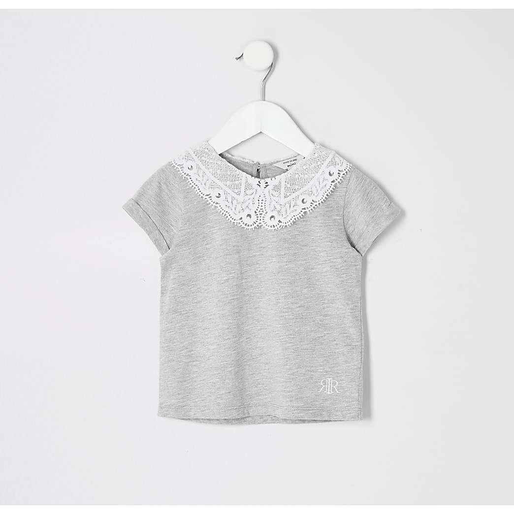 Mini girls grey lace collar T-shirt