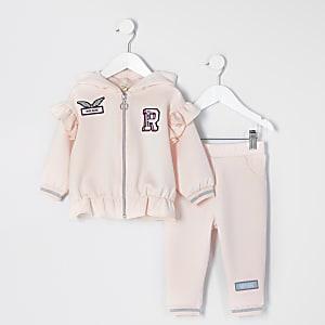 Mini fille – Ensemble rose avec sweat à capuche, badge et fermeture zippée à l'avant