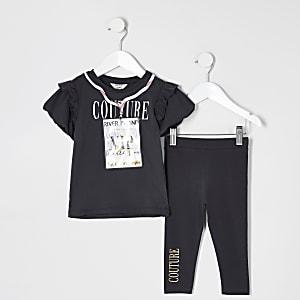 Mini girls grey 'VIP' printed T-shirt outfit