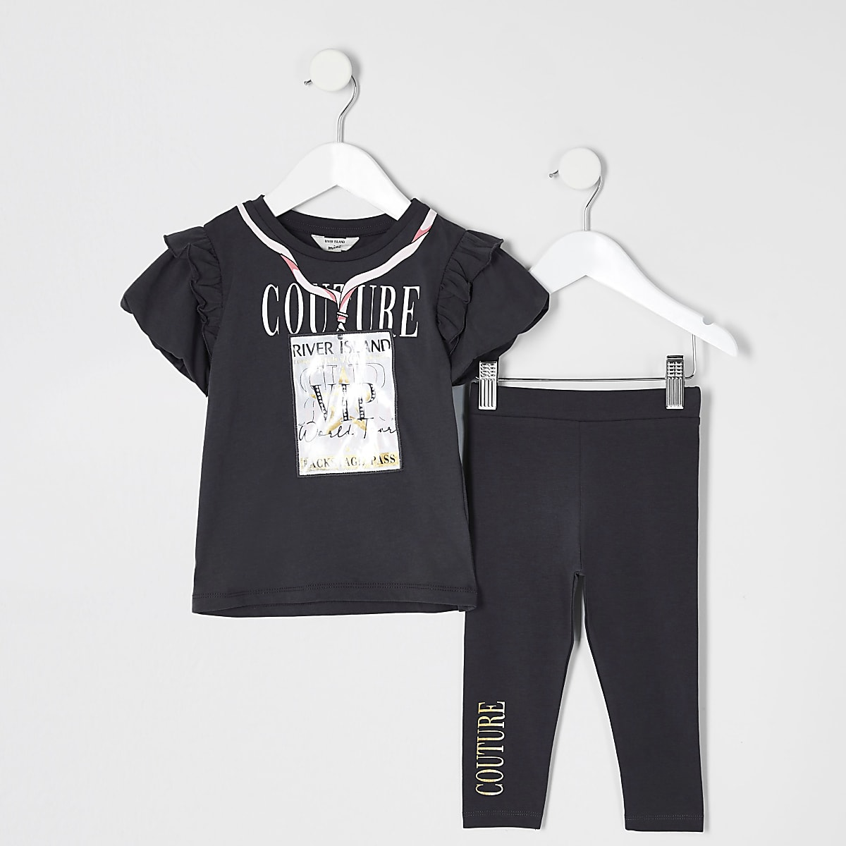 Mini girls grey 3D 'VIP' pass T-shirt outfit