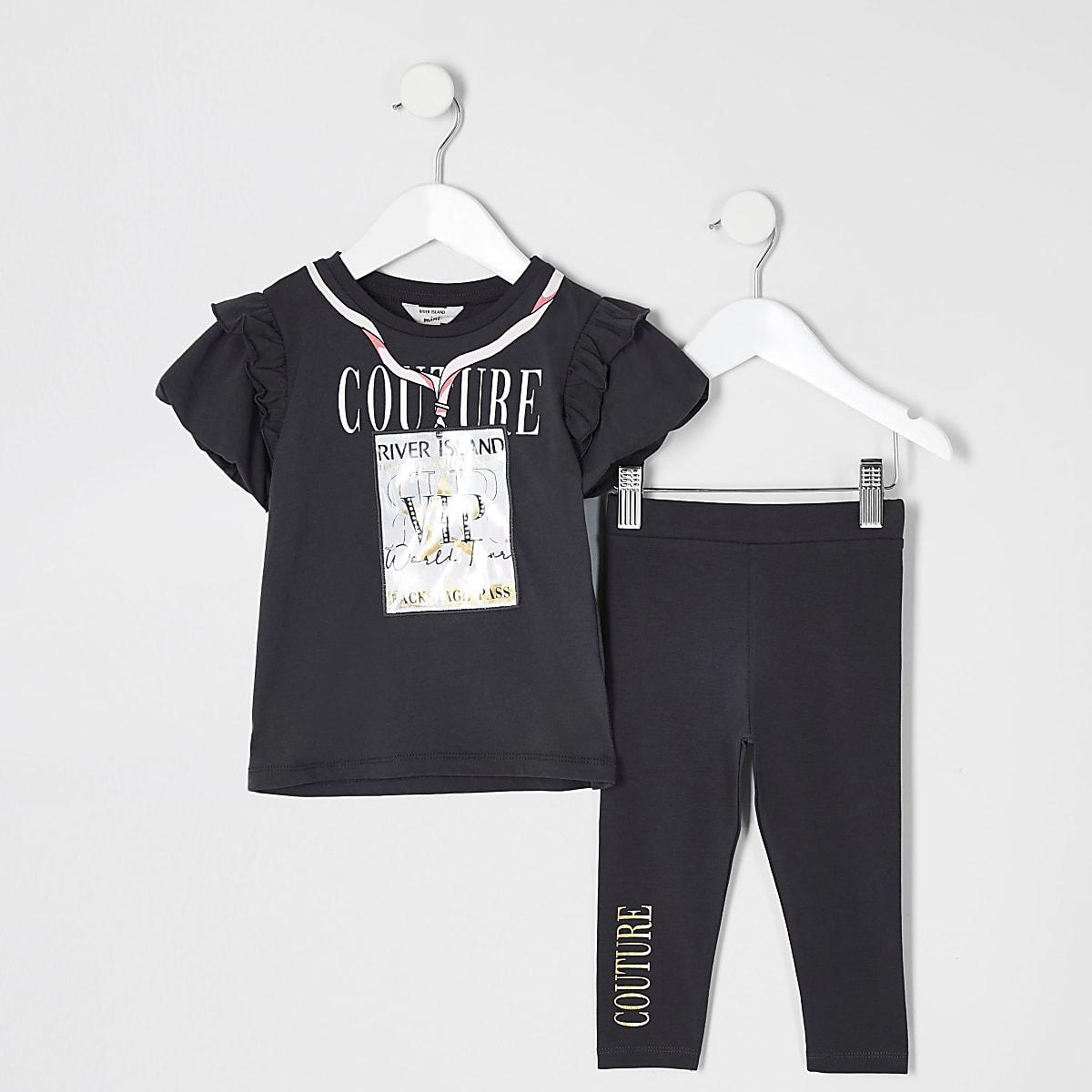 Mini - Grijzeoutfit met 3D 'VIP' pass  T-shirt voor meisjes