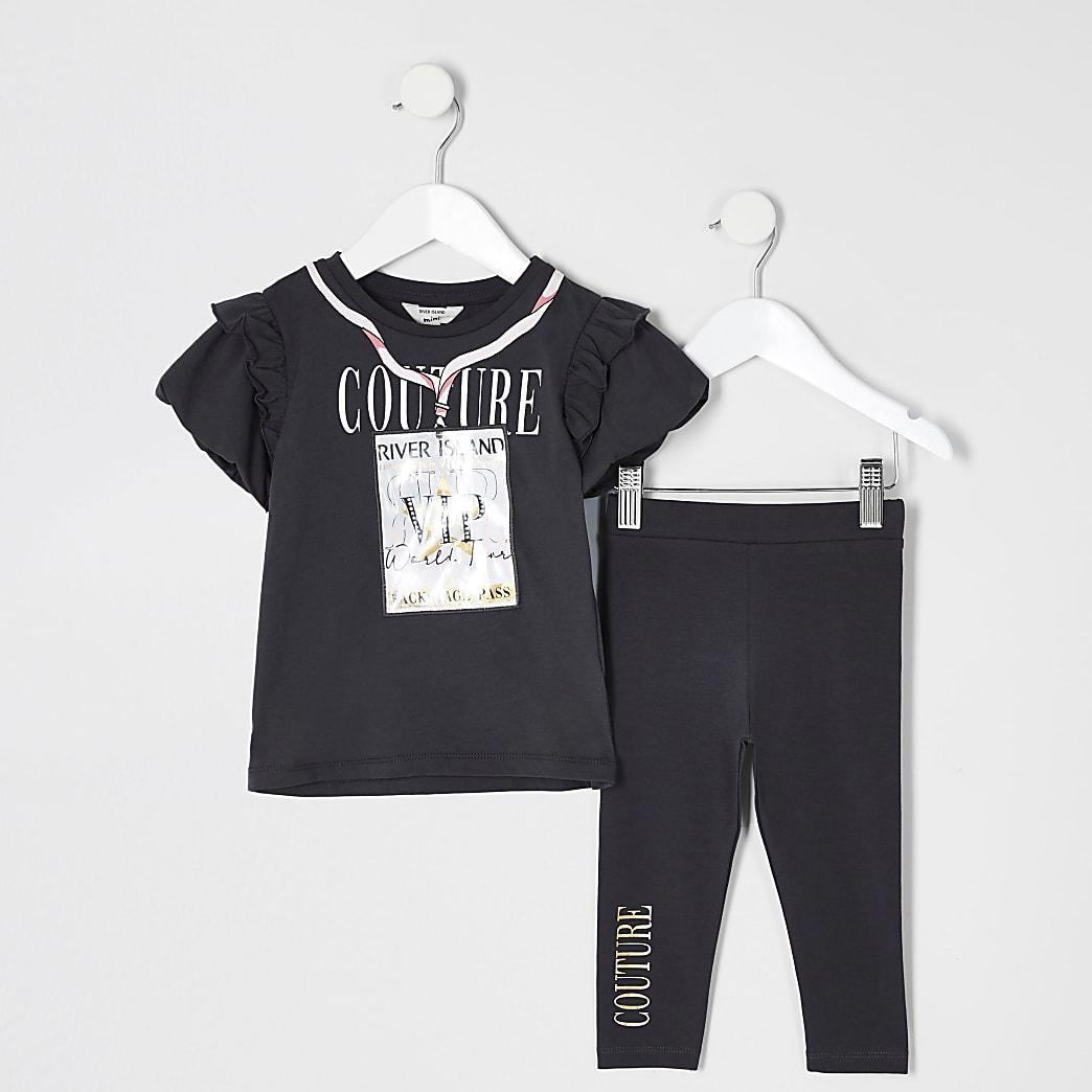 Mini girls grey 3D 'VIP' pass T-shirt outfit