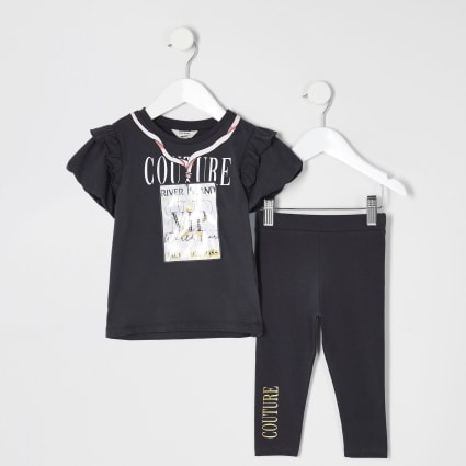 Mini girls grey 'VIP' printed T-shirt outfit