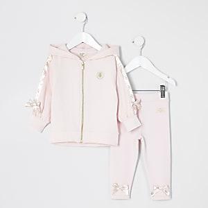 Mini - Roze satijnen hoodie outfit met strikjes voor meisjes