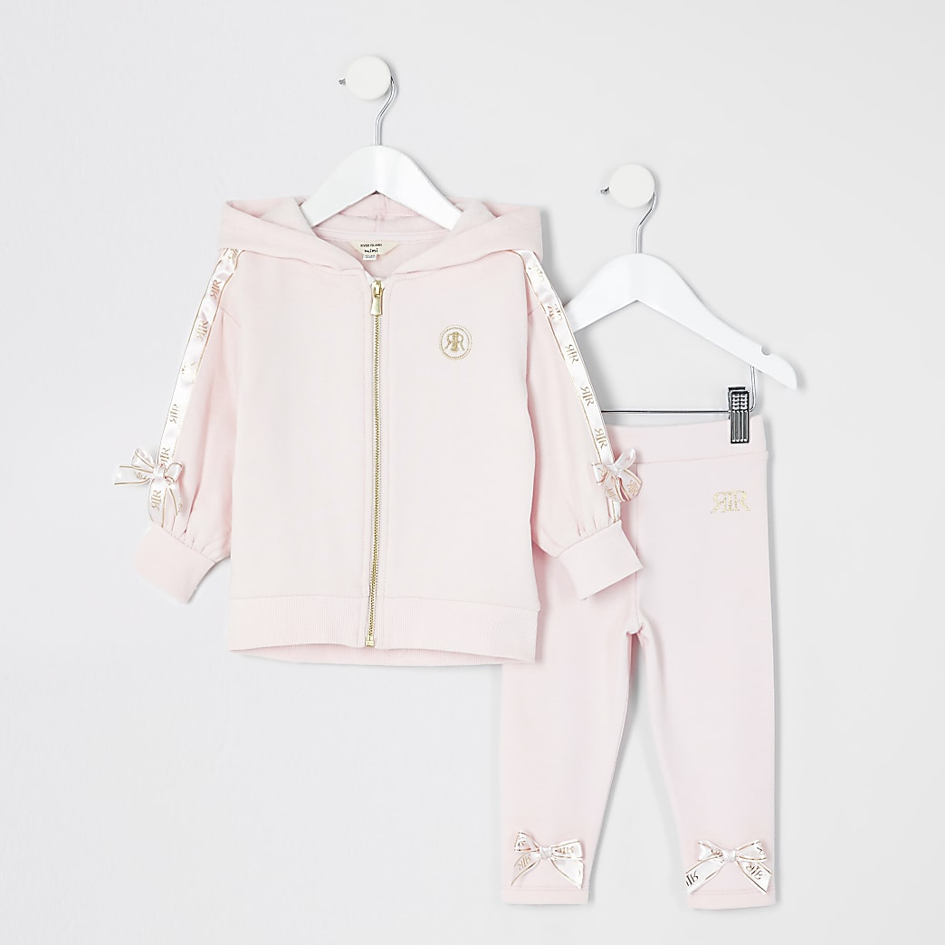 Mini girls pink satin bow hoodie outfit