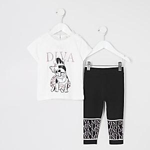 """Cremefarbenes """"Diva"""" T-Shirt-Outfit für kleine Mädchen"""