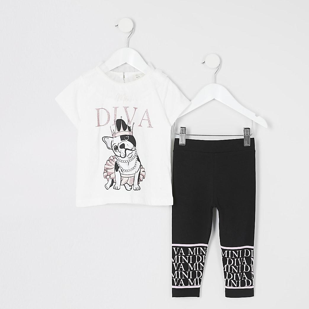 Mini - Crèmekleurig T-shirt outfit met 'Diva'-tekst voor meisjes