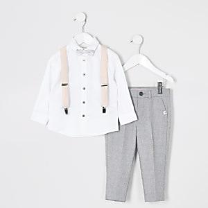 Tenue avec pantalons gris et bretelles Mini garçon