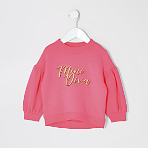 Sweat « Mini diva » rose fluo Mini fille
