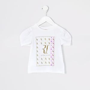 Mini - WitT-shirt met RI-print en poplinmouwen voor meisjes