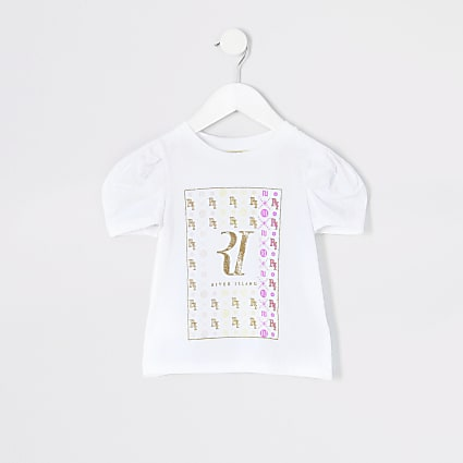 Mini girls white RI poplin sleeve T-shirt