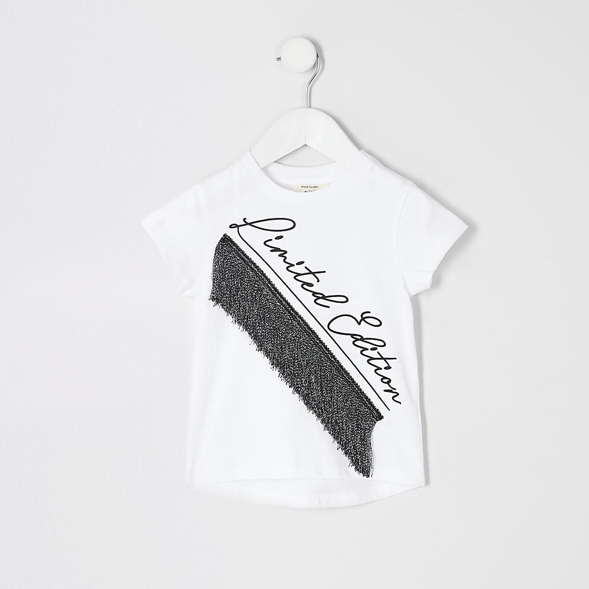 Mini - T-shirt met kwastjes en 'limited edition'-tekst voor meisjes