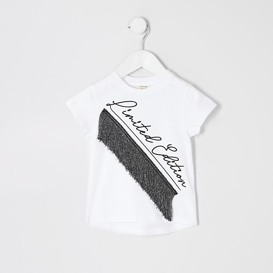 Mini girls 'limited edition' tassel T-shirt