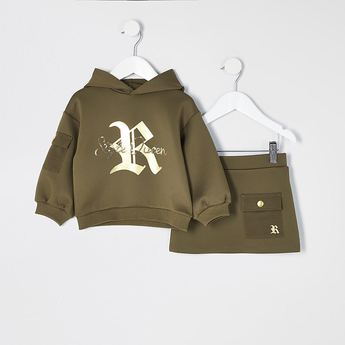 Mini - Kaki scuba hoodie outfit met print voor meisjes