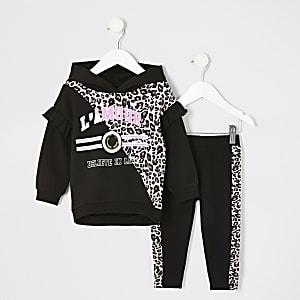 Tenue avec sweat à capuche imprimé léopard Mini fille