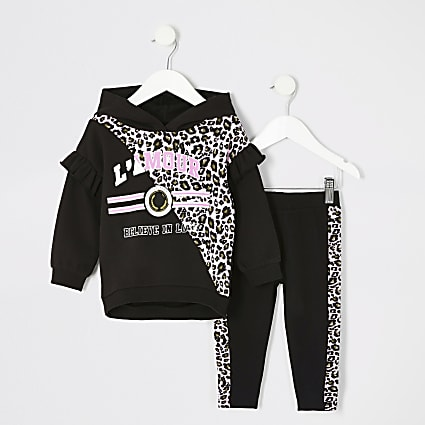 Mini girls leopard print hoodie outfit