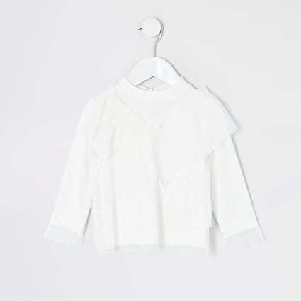 Mini girls white mesh frill long sleeve top