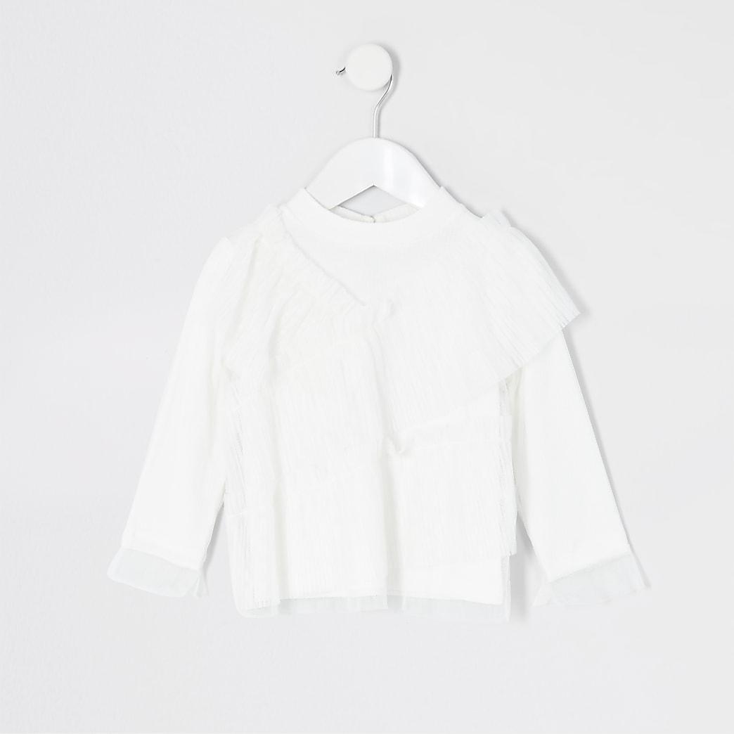 Mini girls white mesh frill long sleeve top