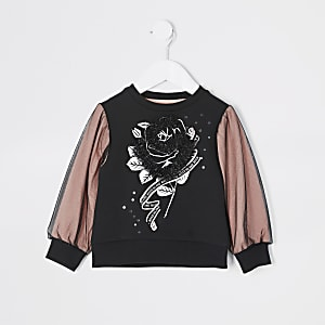 Sweat rose orné Mini fille