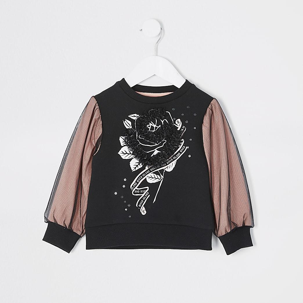 Mini – Mädchen-Sweatshirt in Rosé mit Verzierungen