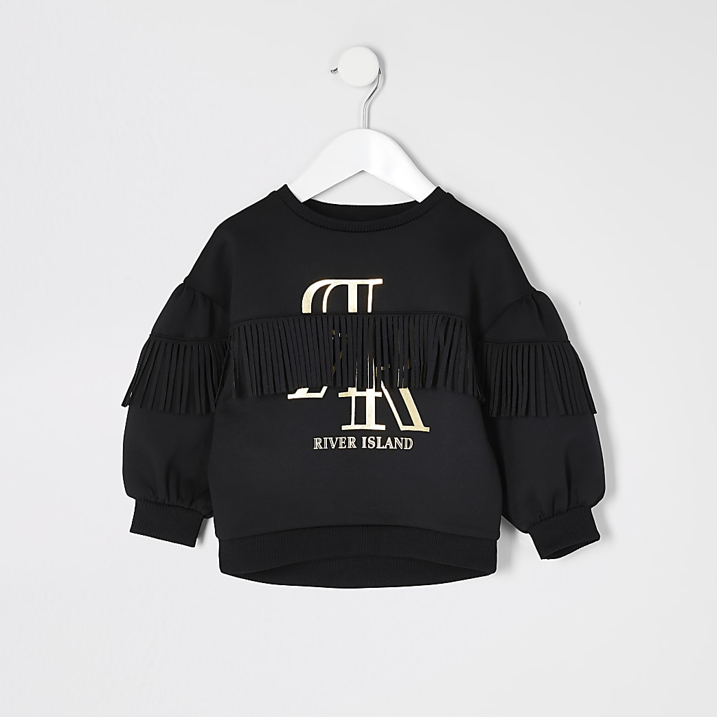 Mini girls black RI fringe scuba sweatshirt