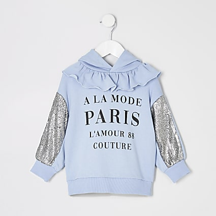 Mini girls blue printed sequin sleeve hoodie