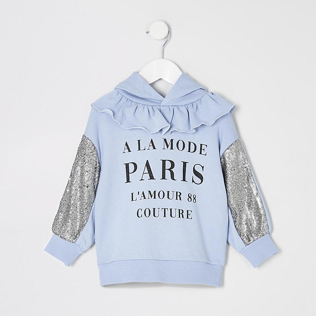 Mini girls blue printed sequin sleeve hoodie