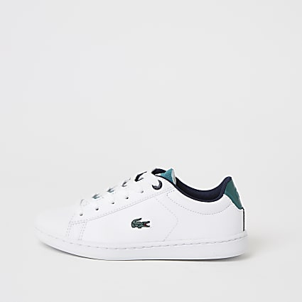 Boys Lacoste white lace-up trainers