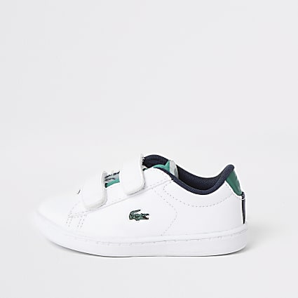 Mini boys Lacoste white velcro trainers