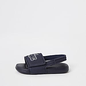 Lacoste– Claquettes à logo bleu marine Mini garçon