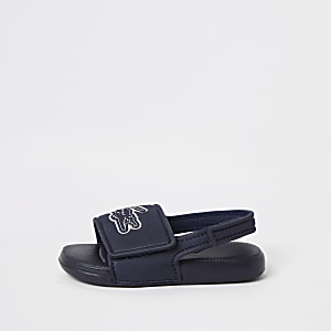 Lacoste - Marineblauwe slippers met logo voor mini-jongens