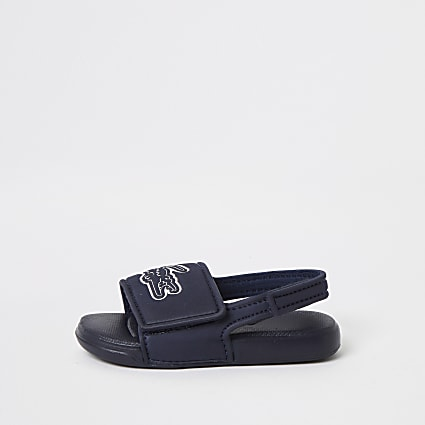 Mini boys Lacoste navy logo sliders